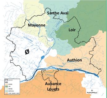 Cartographie des Schémas d'aménagement et de gestion des eaux du territoire.
