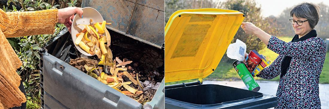 Photo d'un bac de compostage et d'un bac de tri