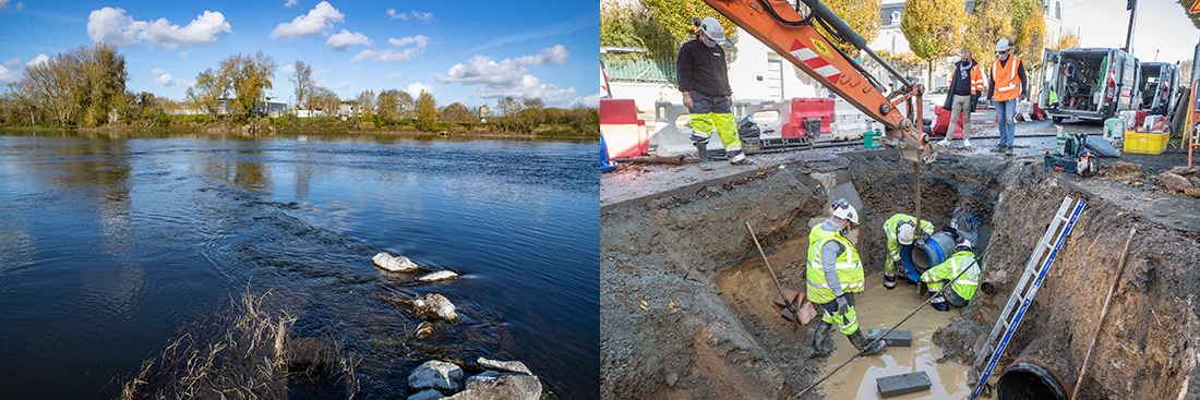Photo du captage d'eau en Loire et travaux sur le réseau d'eau potable.