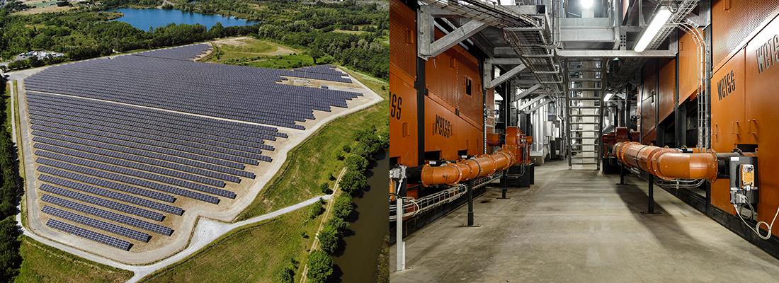 Photo de la ferme solaire des Ponts-de-Cé et de la chaufferie urbaine de Belle-Beille